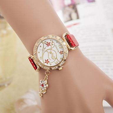 Mulheres Relógio de Moda Quartzo Couro Banda Preta Branco Azul Vermelho Dourada Rosa Roxa