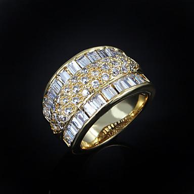 Mulheres Zircão Chapeado Dourado Anel de banda - Fashion Dourado Anel Para Casamento Festa Diário Casual