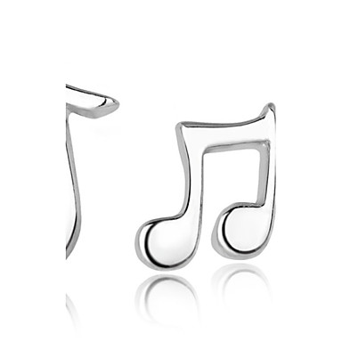 Women's Mismatched Stud Earrings - Sterling Silver, Silver Music Notes Fashion Silver For Wedding / Party / Daily