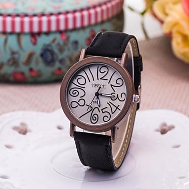 Dames Modieus horloge Kwarts PU Band Zwart Zwart Grijs