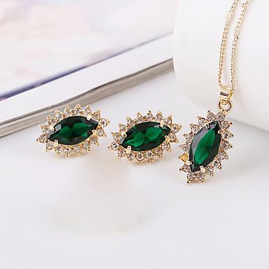 Mulheres Zircão Zircônia Cubica Conjunto de jóias Brincos Colares - Luxo Vintage Fofo Festa Trabalho Fashion Dourado Verde Conjunto de