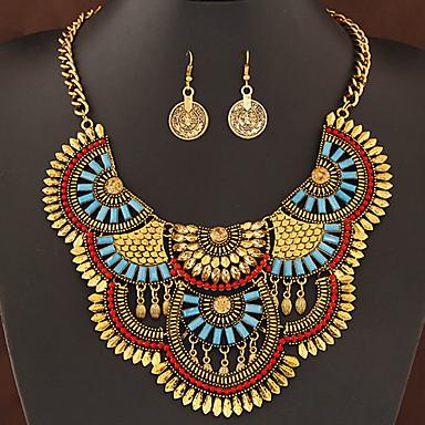 Feminino Conjunto de Jóias Luxo Fashion Europeu Bijuterias Destaque Festa Diário Casual Pedras preciosas sintéticas Resina Liga Brincos