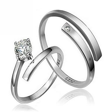 Homens Mulheres Anéis de Casal Estilo simples Moda Prata de Lei Zircão Jóias Jóias Para Casamento Festa Diário