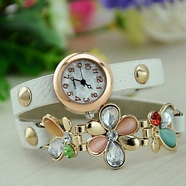 Damen Modeuhr Armband-Uhr Quartz Leder Band Blume Schwarz Weiß Rot Grün Rose