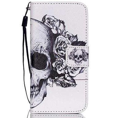 hzbyc®white schedel patroon pu materiaal kaart lanyard case voor de iPhone 5c