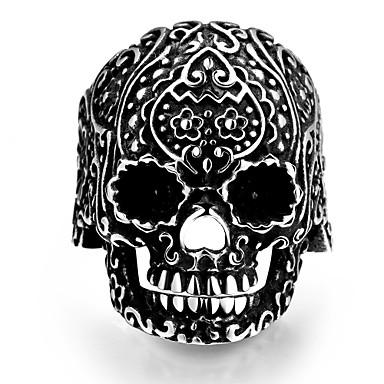Yüzük Paslanmaz Çelik Skull shape Punk Tarzı Gümüş Mücevher Halloween Günlük Spor 1pc