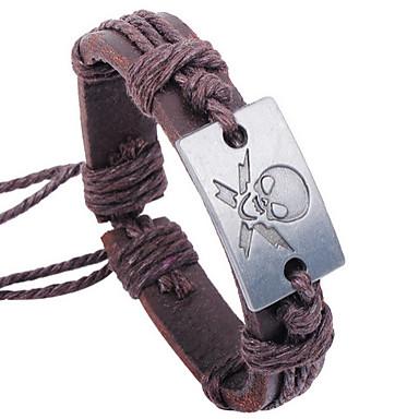 Heren Armband Lederen armbanden Uniek ontwerp Modieus Doodshoofdvorm Bruin Sieraden Voor Feest 1 stuks