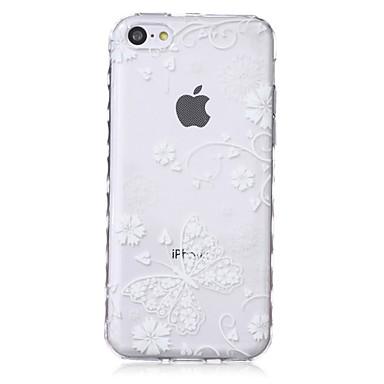 vlinderpatroon golven slip handvat TPU soft phone case voor de iPhone 5c