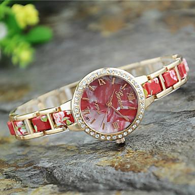 Dames Modieus horloge Kwarts Legering Band Bloem Zwart Wit Blauw Rood Groen Roze Geel roze