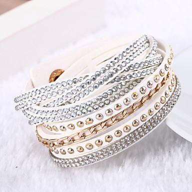 Mulheres Enrole Pulseiras Luxo Original Multi Camadas Fashion Pele Strass Imitações de Diamante Outros Jóias Presentes de Natal Casamento
