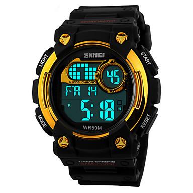 Homens Relógio de Pulso Relógio Esportivo Digital Alarme Calendário Cronógrafo Impermeável Relógio Esportivo LED PU Banda Preta