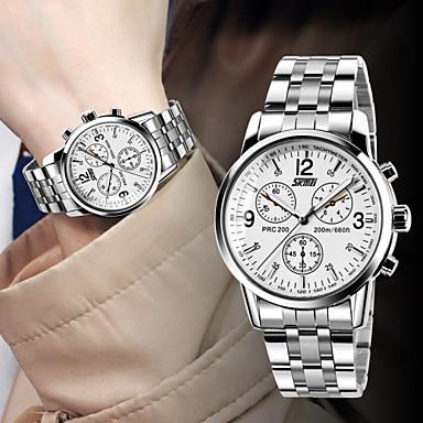 Homens Relógio de Pulso Quartzo Impermeável Aço Inoxidável Banda Prata