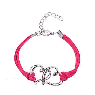 Жен. Браслет дружбы - Кожа Сердце, Любовь Уникальный дизайн, Мода Браслеты Розовый / Красный Назначение Для вечеринок / Повседневные