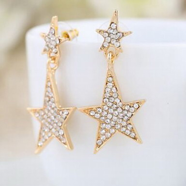 Brincos Curtos Jóias de Luxo imitação de diamante Liga Jóias Para Casamento Diário Casual 2pçs