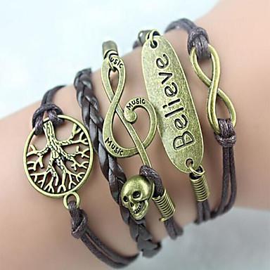 pulseira de couro coração liga de múltiplas camadas pulseira infinita handmade