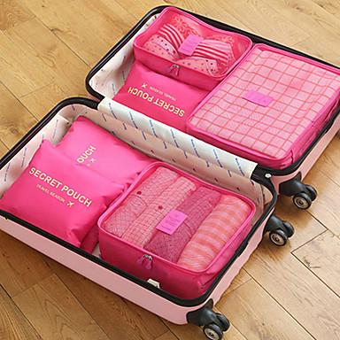 billige Rejsetasker-6 sæt Rejsetaske / Rejsearrangør / Rejsebagageorganisator Stor kapacitet / Bærbar / Foldbar BH / Tøj Oxford-stof Udendørs / Rejse / Til hjemmet