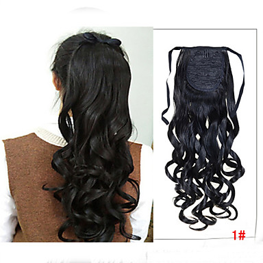 Trança Rabos-de-Cavalo Cabelo Sintético Pedaço de cabelo Alongamento Ondulado