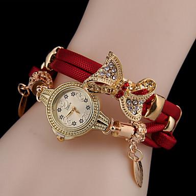 Dames Modieus horloge Armbandhorloge Kwarts Vrijetijdshorloge Leer Band Vlinder Zwart Blauw Rood Groen Goud roze