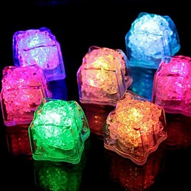 1PCS LED Ice Cubes Colorful Flash LED Light Ice Cubes Luminous LED Glowing Induction Wedding Festival Christmas Party Decor