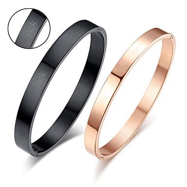 день подарков на день святого валентина персонализированные любителей ювелирных изделий титана стали Glod / черные браслеты супругов (одна пара)