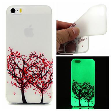 Para Capinha iPhone 5 Case Tampa Brilha no Escuro Capa Traseira Capinha Árvore Macia PUT para iPhone SE/5s iPhone 5