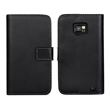 echt lederen portemonnee flip case met card slot en staan geval voor Samsung Galaxy S2 i9100