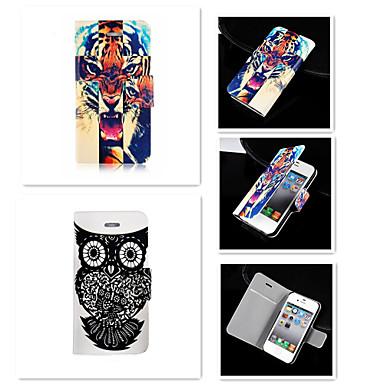 de tijger met de uil patroon pu lederen full body case voor de iPhone 4 / 4s