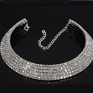 billige Mode Halskæde-Dame Syntetisk Diamant Tenniskæde Kort halskæde Rhinsten Damer Brude Halskæder Smykker Til Bryllup Fest