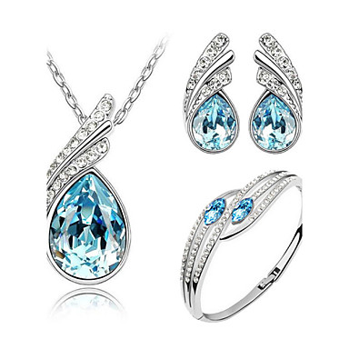 cheap Necklaces-Women's Sapphire Crystal Citrine Jewelry Set Pear Cut Solitaire Angel Wings Ladies Elegant everyday Crystal Earrings Jewelry Yellow / Green / Blue For Wedding Party Birthday Engagement Gift Daily