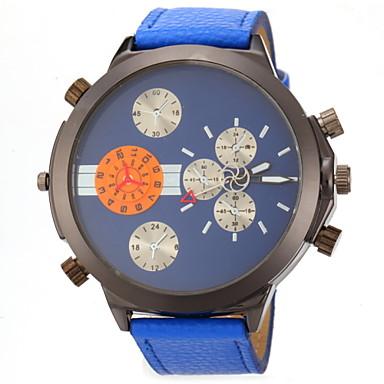 JUBAOLI Heren Militair horloge Polshorloge Kwarts Dubbele tijdzones Leer Band Blauw Rood Orange Bruin Zwart Oranje Bruin Rood Blauw