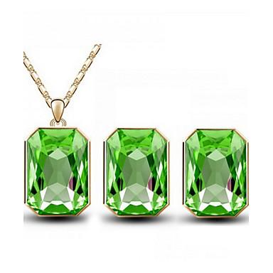 Mulheres Cristal Conjunto de jóias - Cristal Incluir Rosa / Verde / Azul Para Casamento / Festa / Diário / Brincos / Colares