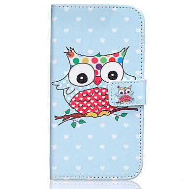 Para Samsung Galaxy Capinhas Case Tampa Porta-Cartão Carteira Com Suporte Flip Corpo Inteiro Capinha Corujas Couro Ecológico para Samsung