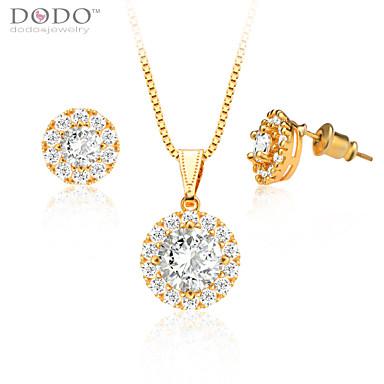 Feminino Conjunto de Jóias Casamento Festa Diário Casual Cristal Chapeado Dourado Imitações de Diamante Formato Circular Forma Geométrica