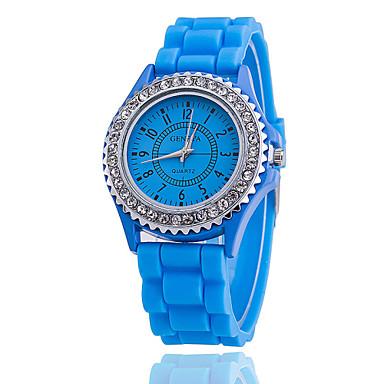 Mulheres Relógio de Moda Relógio Casual Quartzo Silicone Banda Azul Vermelho Marrom Verde Rosa Amarelo Bege