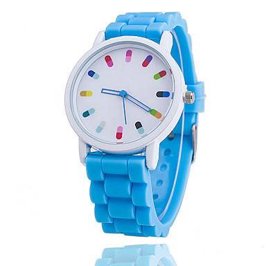 Mulheres Relógio de Moda Relógio Casual Quartzo Silicone Banda Azul Laranja Verde Rosa Roxa
