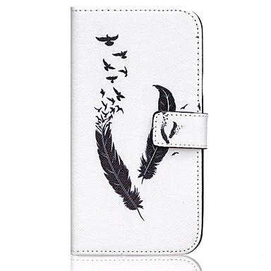 Para Samsung Galaxy Capinhas Case Tampa Carteira Porta-Cartão Com Suporte Flip Corpo Inteiro Capinha Penas Couro Ecológico para Samsung
