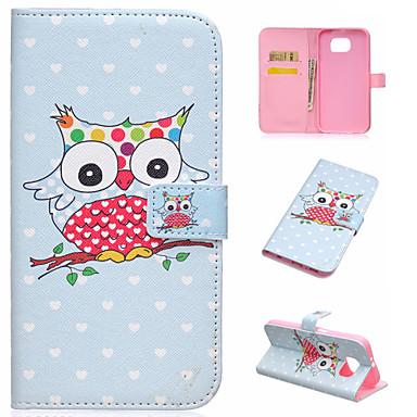 Para Samsung Galaxy Capinhas Carteira / Porta-Cartão / Com Suporte / Flip Capinha Corpo Inteiro Capinha Coruja Couro PU SamsungS7 edge /