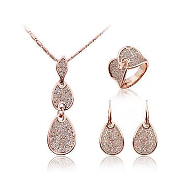 Mulheres Cristal Conjunto de jóias Anéis Brincos Colares - Para Casamento Festa Aniversário Noivado Presente Diário Casual