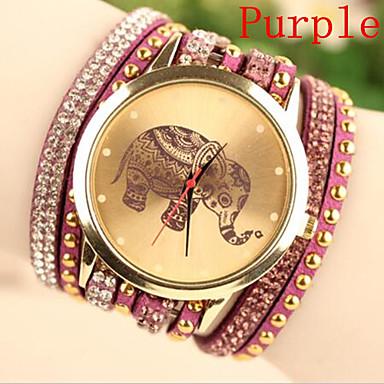 Mulheres Relógio de Moda Bracele Relógio Quartzo Couro Banda Preta Branco Azul Vermelho Roxa