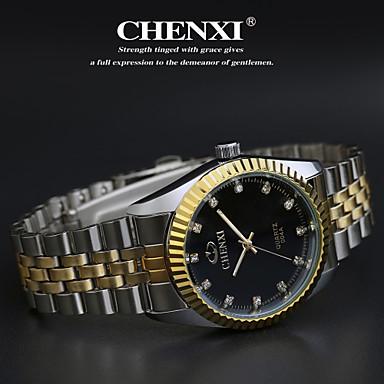 levne Pánské-CHENXI® Pánské Náramkové hodinky Křemenný Nerez Stříbro Hodinky na běžné nošení Analogové Přívěšky Klasické - Zlatá Bílá Černá
