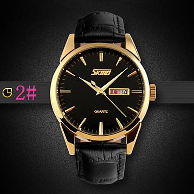 levne Pánské-Pánské Náramkové hodinky Křemenný Japonské Quartz Kůže Černá / Hnědá 30 m Voděodolné Analogové 2# 3# 4#