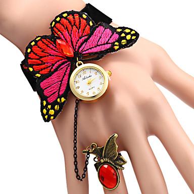 Mulheres Relógio de Moda Bracele Relógio Quartzo Relógio Casual Tecido Banda Borboleta Elegantes Azul Vermelho Vermelho Azul