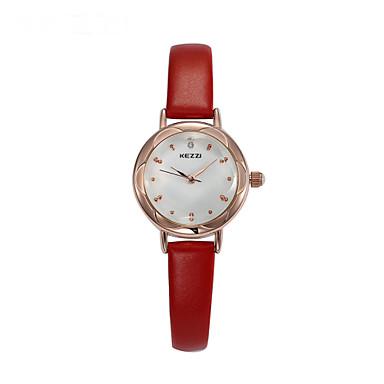 Mulheres Relógio de Moda Quartzo Couro Banda Preta Branco Vermelho Marrom Rosa Branco Preto Marron Vermelho Rosa claro