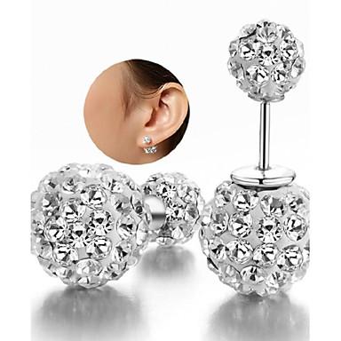 8513ba9a797e abordables Pendientes-Mujer Zirconia Cúbica diamante pequeño Cuentas  Pendientes cortos Plata de ley Zirconio Plata