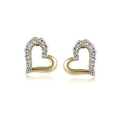 Dames Hart Kristal 1 Oorknopjes Druppel oorbellen - Hart Zilver Gouden oorbellen Voor Bruiloft Feest Dagelijks