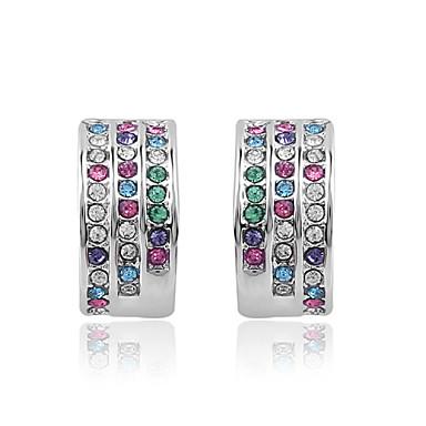 Brincos Curtos Cristal Branco Roxo Azul Rosa claro Arco-Íris Jóias Para Casamento Festa Diário Casual 1 Conjunto