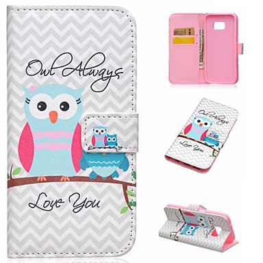Para Samsung Galaxy Capinhas Porta-Cartão / Com Suporte / Flip / Estampada / Magnética Capinha Corpo Inteiro Capinha Coruja Couro PU