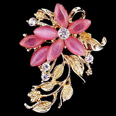 Women's Brooches - Crystal, Cubic Zirconia, Opal Flower Ladies, Party, Work, Casual, Fashion Brooch Jewelry Pink For Wedding / Party / Special Occasion / Anniversary / Birthday