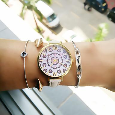 Dames Armbandhorloge Modieus horloge Kwarts PU Band Bloem Zwart Wit Bruin Roze