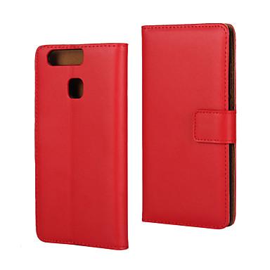 hoesje Voor Huawei P9 Huawei P9 Huawei hoesje Kaarthouder Portemonnee met standaard Flip Volledig hoesje Effen Kleur Hard PU-nahka voor